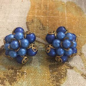 Vintage blue beaded clip earrings